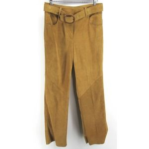 VTG 90s DKNY Suede Leather Pants Trousers Belted